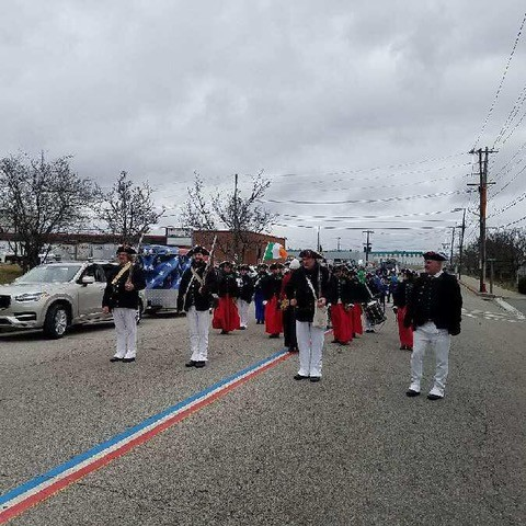 The corps prepares to step off in the Pawtucket Saint Patrick's day Parade.
