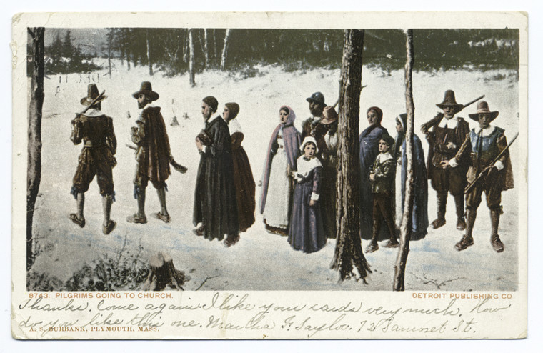 Pilgrims going to Church, Plymouth, Mass