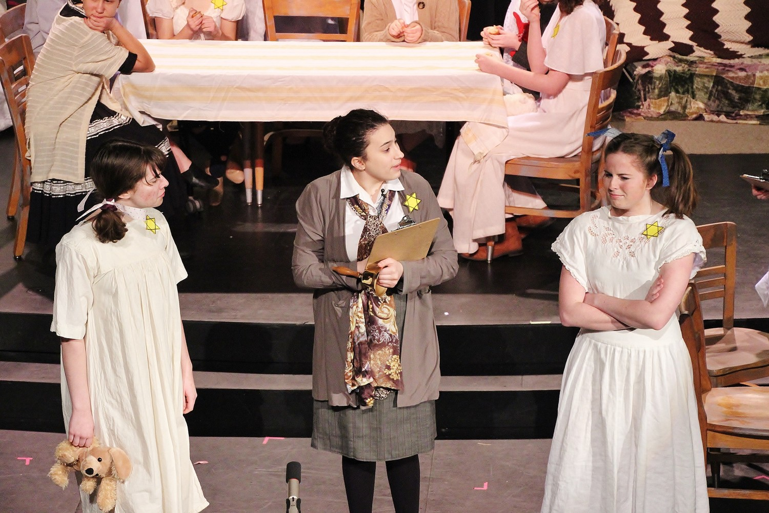 Abby Dawson of Riverside  as Little Hannah, Julia Smith as Madam Steffa, and Emma North as Big Hannah.