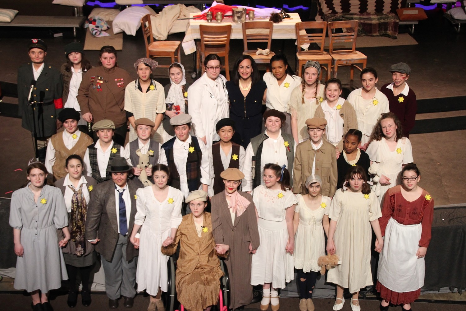 "Entire student cast of ""Korczak's Children,"" including Director Nancy Peters."