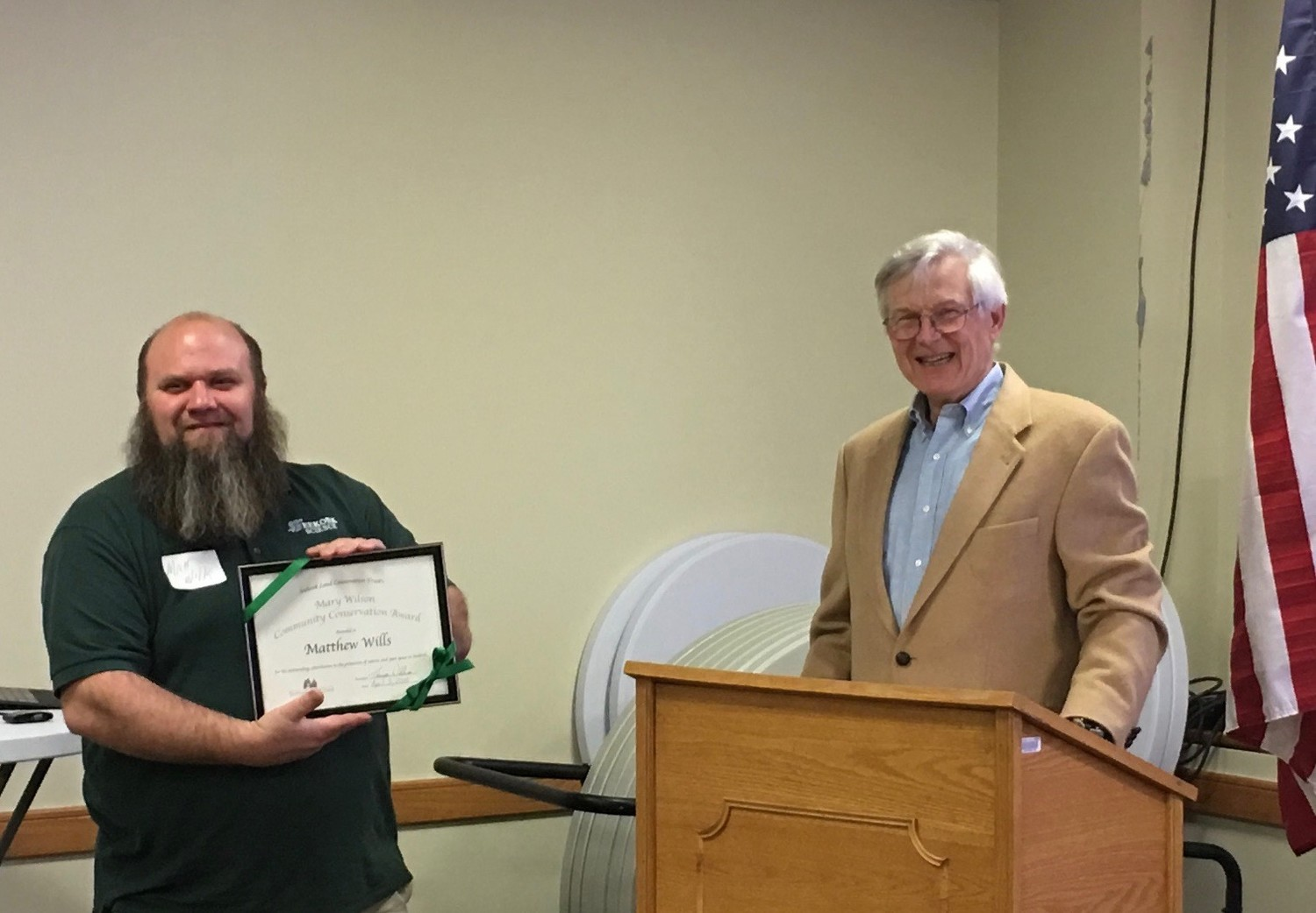Matthew Wills of Seekonk High School was awarded the Mary Wilson Community Conservation Award by Tom Webb, President of the Seekonk Conservation Land Trust at their annual meeting April 3, 2018.