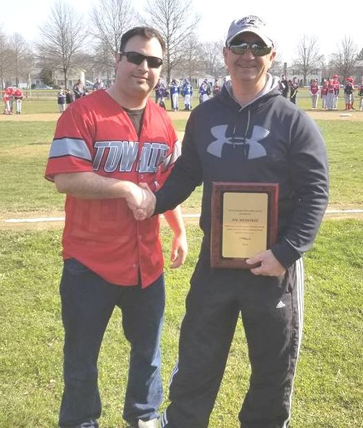 EPHS Coach Bobby Rodericks and Joe Medeiros at EPCLL Opening Day on Rodericks Field.
