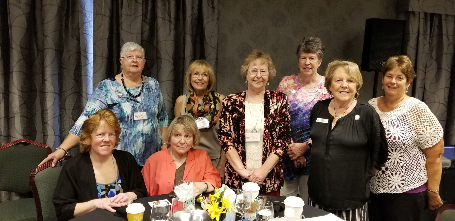 Group picture: Standing, Joyce Clark, Nancy Brown, Edie Edlund,club President; Nancy Clark, Cindy Brogan, Nancy Martin