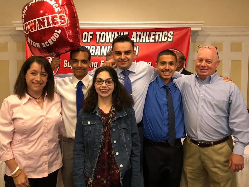 Townie unified Basketball athletes honored.  Coach Bruce Zarembka, James L. Greene Memorial Award recipient for unwavering support of Townie Athletics.