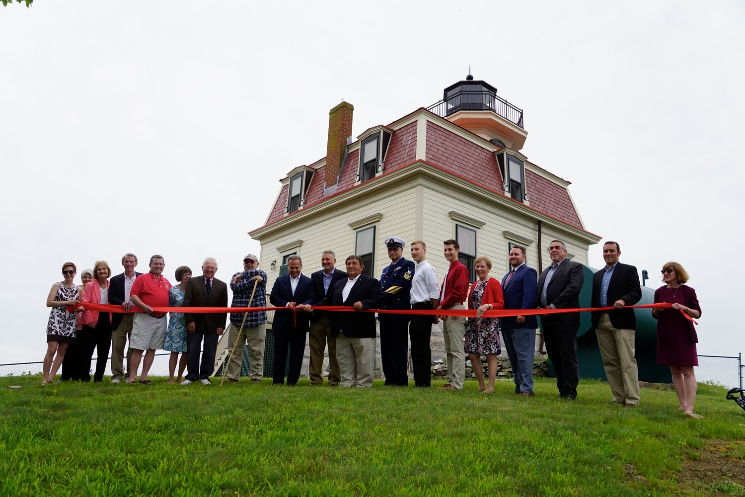 Past Board Chairs and current Board members of Friends of Pomham Rocks Lighthouse were joined by special guests at a ribbon cutting to officially open Pomham Rocks Lighthouse. Left to right are: Katy Pomplun, Carleen Joiner, Anne Greene, Nate Chace, Michael Tripp, Jean Zunda, David Kelleher, Donald Doucette, U.S. Congressman David Cicilline, Keith Lescarbeau, Friends President Joseph Estrella, Dennis Tardiff, Adam Dias, Alex Dias, Louise Paiva, Justin Carr, John Andrade, Carlos Neves and Roberta Randall.