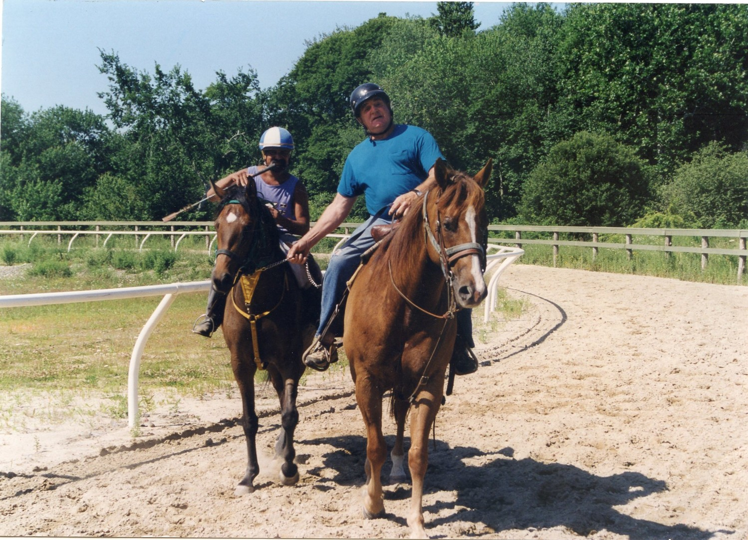 George Brown training a young thoroughbred on his Rehoboth Farm. Briar Hill Farm was the largest thoroughbred breeding farm in Massachusetts.