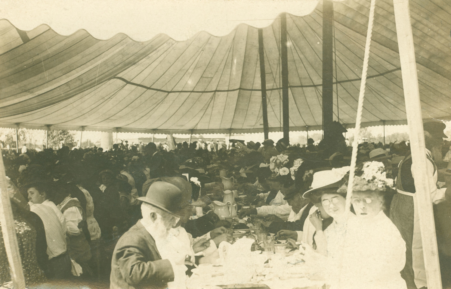 "Postcard ""Inside the Eating Tent at the Antiquarian Bake"", 1909"