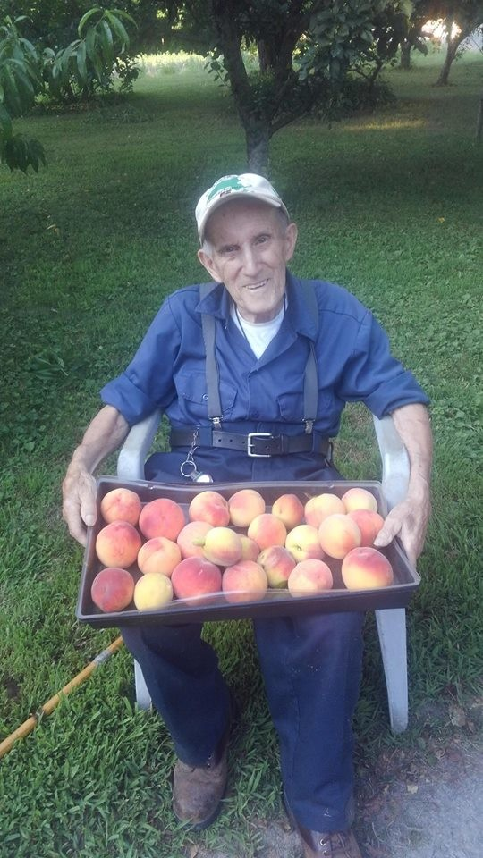 This is the man who started it all! Grandpa Souza turned 90 this past April and still enjoys getting his hands dirty. Here he is after helping Val pick about 10 lbs of peaches from his peach tree!