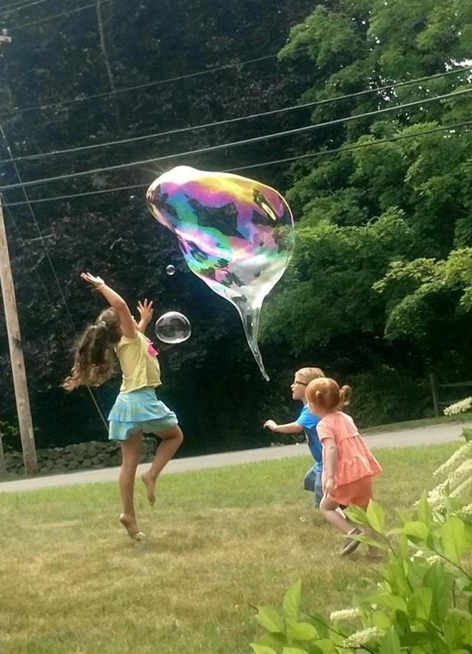 Bubble Fun: a great time was had by all at Mr. Vinny's Fun & Giant Bubbles program at the Blanding Library this summer.