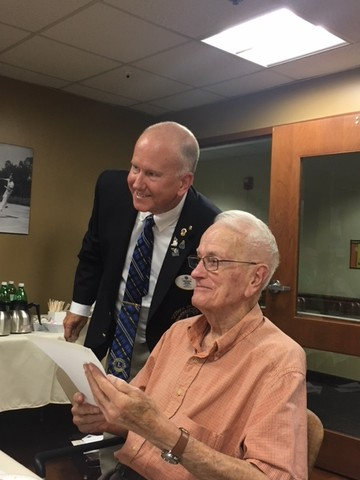 92 year old East Providence Lion awarded chevron for 55 plus years of service