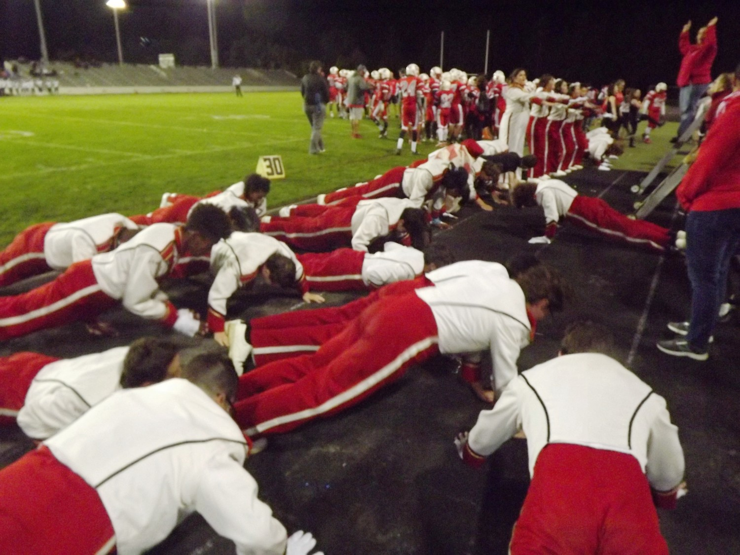 Townie band members do a pushup for each EP point scored.  Got to 47!
