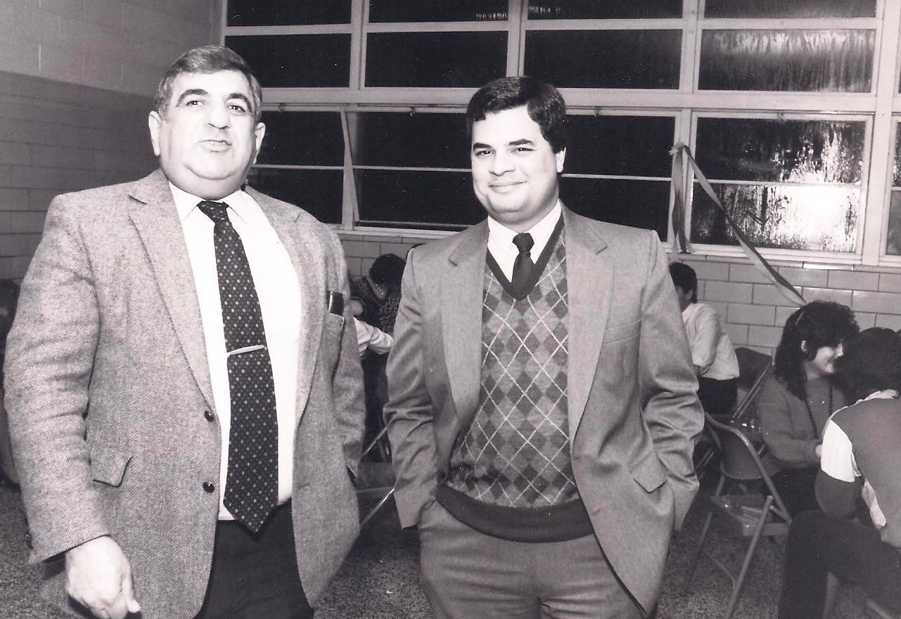 The late former EPHS Principal Arthur Elmasian and Bob Rodericks getting ready for Townie Pride in the 80's