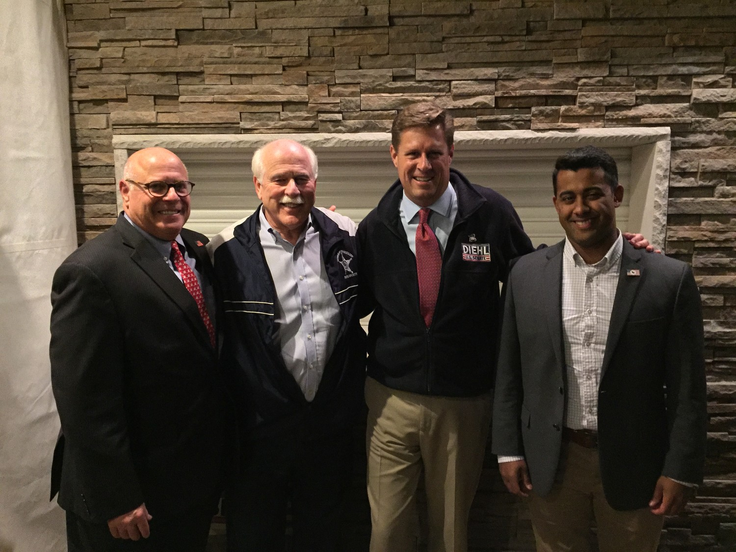 Rep. Steve Howitt, Sheriff Tom Hodgson and Jacob Ventura with Rep. Geoff Diehl