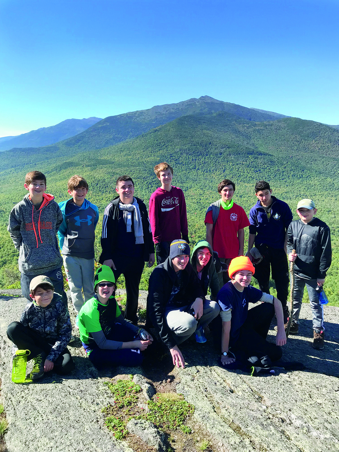 Troop 1 Boy Scouts with Mt Adams in the distance.