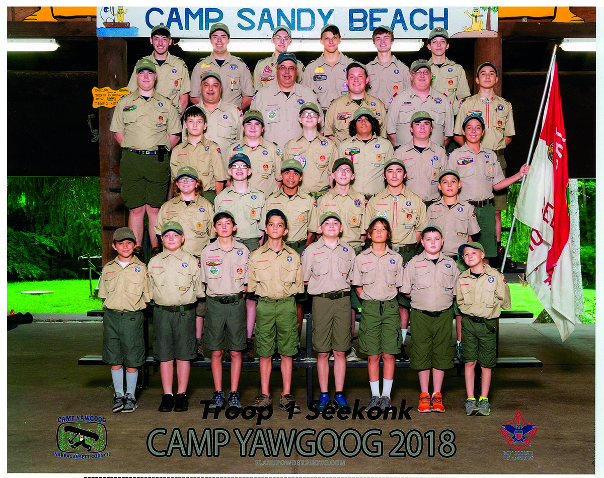 Troop 1 Boy Scouts and adult leaders attended a week of summer camp at the Camp Sandy Beach site at Camp Yawgoog.