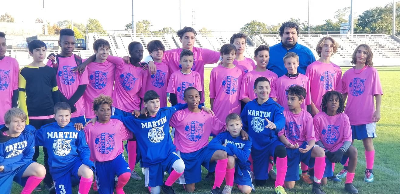 Martin Middle School Boys soccer team after first round playoff win against Chariho at Pierce Stadium