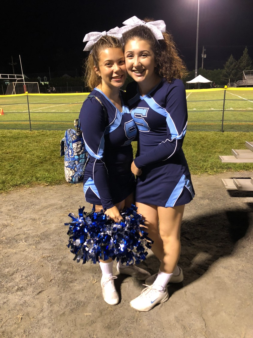 These two cousins have been cheering for Seekonk sports for over a decade! Mersadies Crompton (left) and Gianna Panciotti (right)