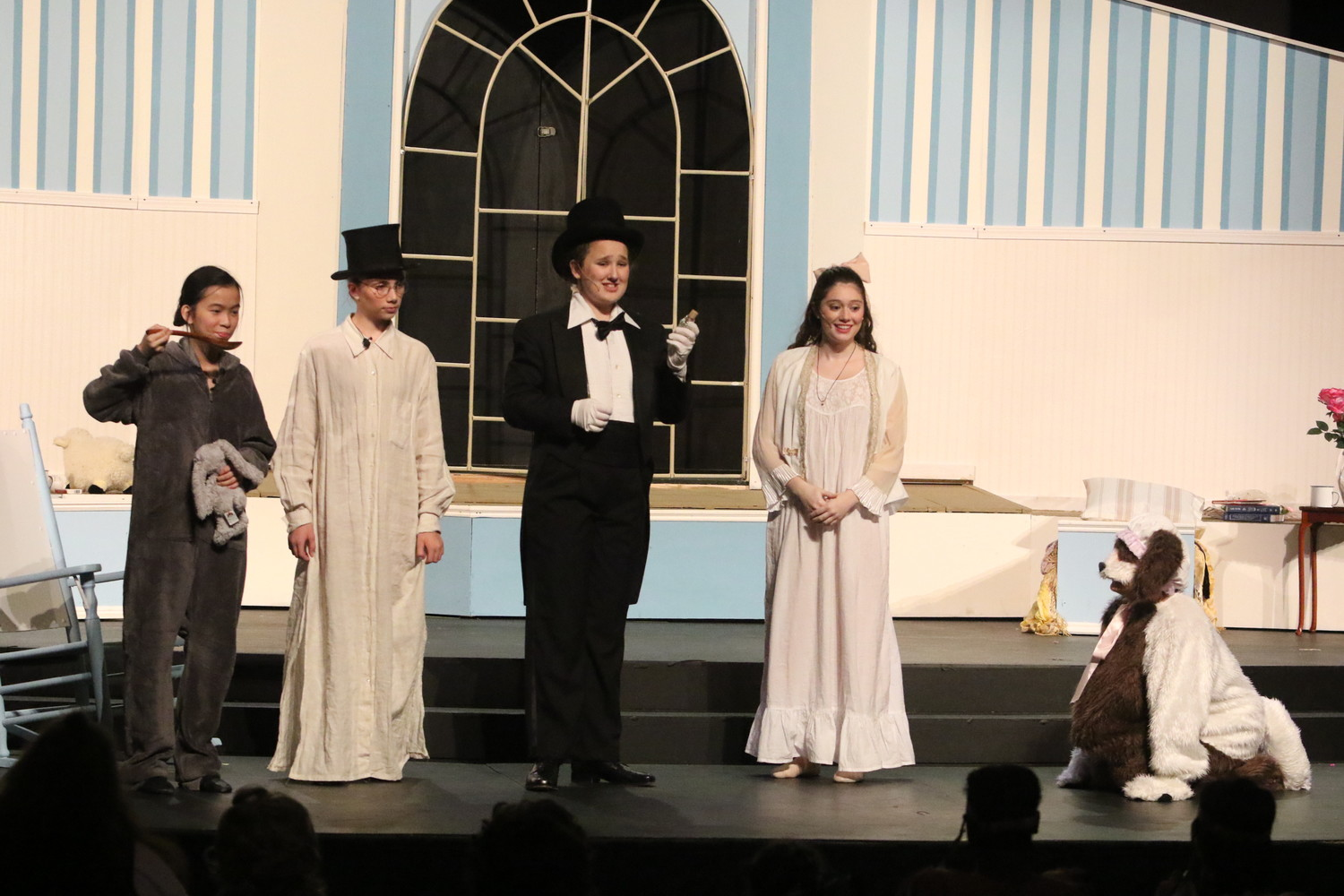 Jia Weingard, Sophia Bianchi, Caitlin Connallon, Grace Farrow, and Gabriella Moreira as Michael Darling, John Darling, Mr. Darling, Wendy, and Nana the dog Rehoboth, MA / North Kingstown / Cranston / Providence / Rehoboth, MA