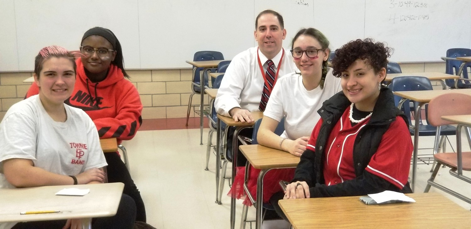EPHS students interviewed on Rally Day last month at EPHS about Hamilton field trip. L-R Jillian Aronhalt, Alexis Silva, Abigail Schwab, Eliza Vecchiarelli and Social Studies chair, Michael Silva