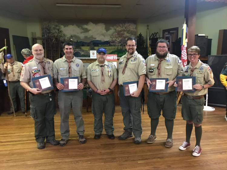 Mr. Cunha, Scoutmaster; Mr. Vandal, Advancement Coordinator; John Potvin, WB Scoutmaster; Randy Duckworth, Scoutmaster; RJ Landry, Assistant Scoutmaster; Cameron Cole, Assistant Scoutmaster