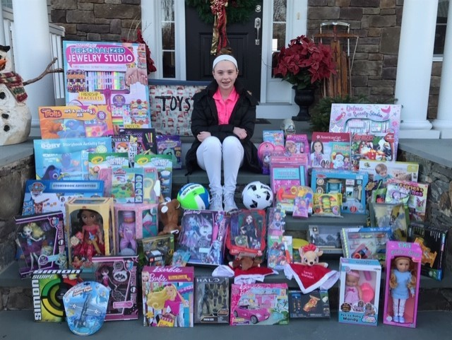 Kaylen McGovern collected hundreds of toys this Christmas.