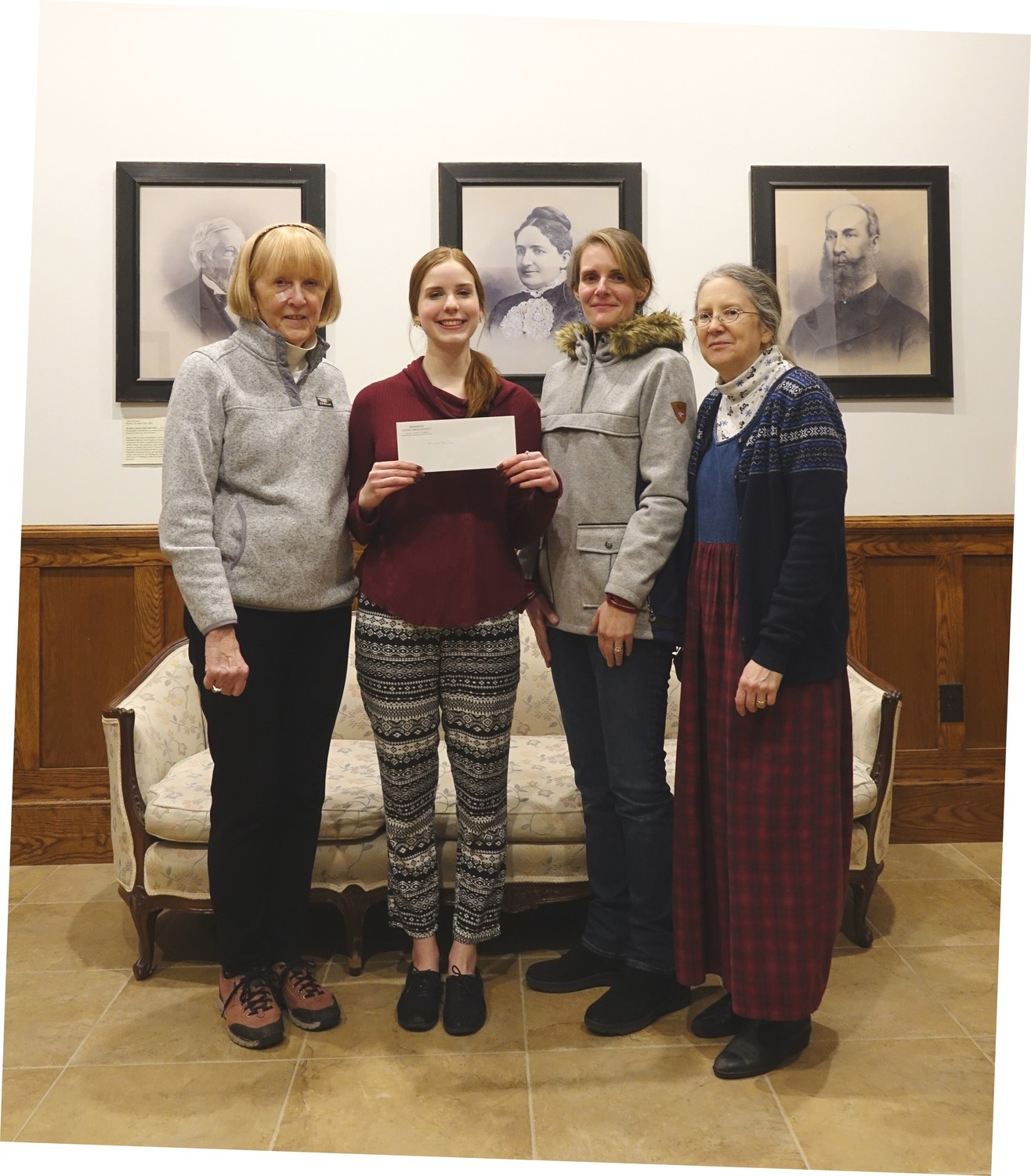 Left to right: Maureen Whittemore, RAS Trustee, Micaela Rennick, Scholarship Recipient, Anna Deignan, RAS Scholarship Committee, Rebecca Smith, RAS President