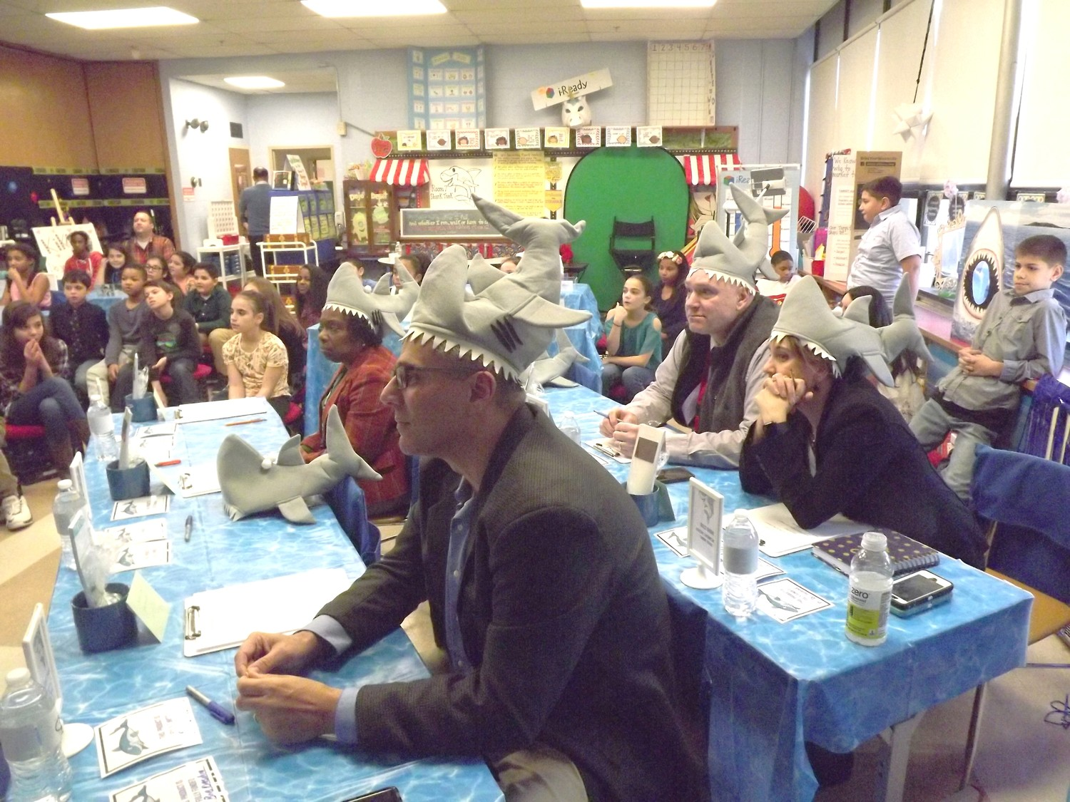 Mayor-Elect Bob DaSilva and school officials judge Whiteknact School  projects.