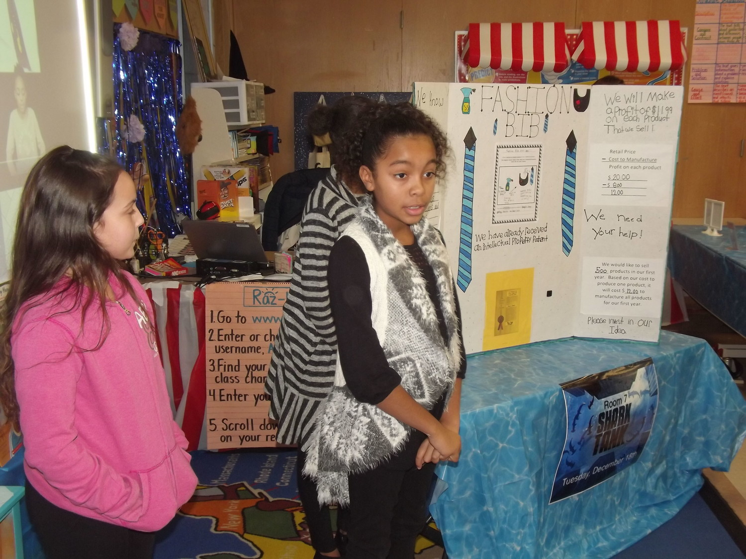 Whiteknact students answer Shark Tank project questions.