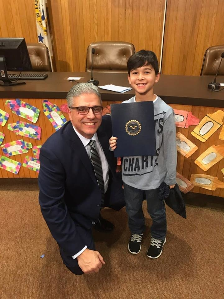 Drake Silva one of the students who read their essay this evening at MLK commemorative celebration with Mayor Bob DaSilva