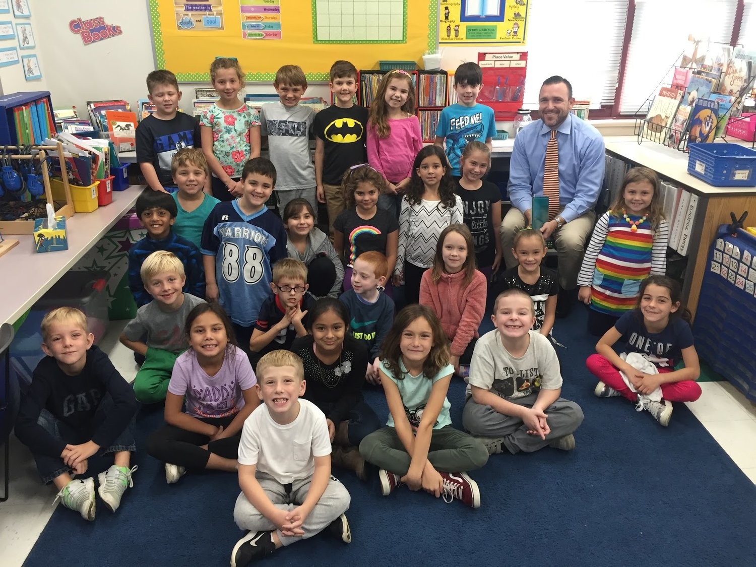 Grade 2 with New Superintendent of Schools, Dr. Richard Drolet