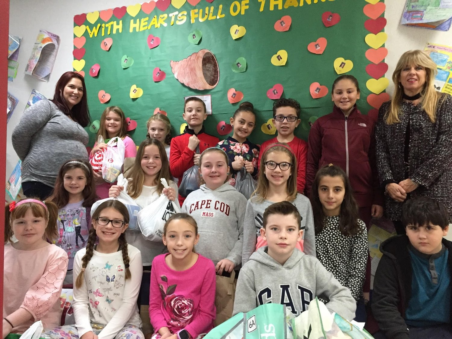 "Mrs. Sceele's Grade 4 class donated an abundance of items for a charity organization called ""Boxes of Love."""
