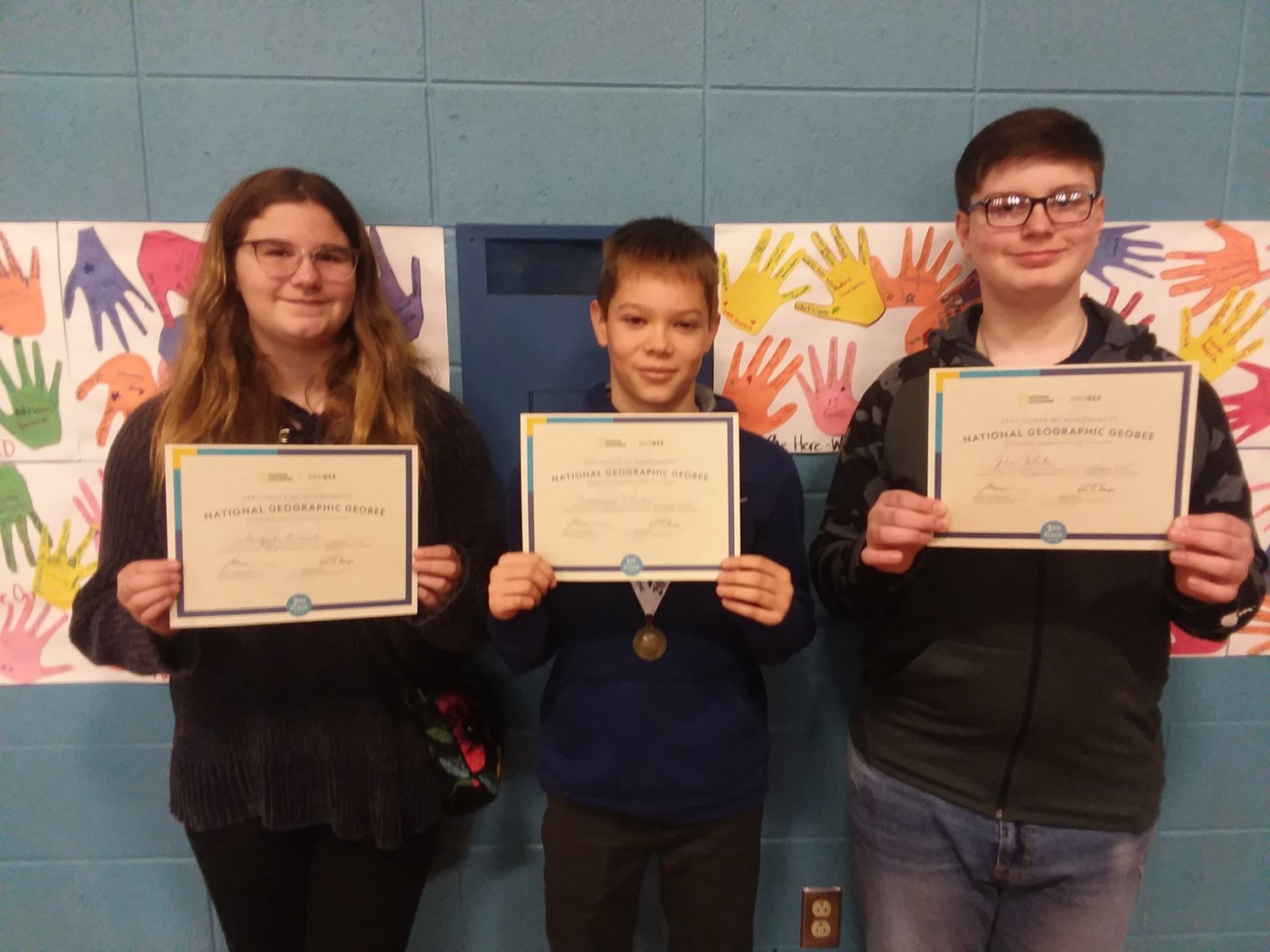 Top three finalists in Beckwith National Geographic Bee