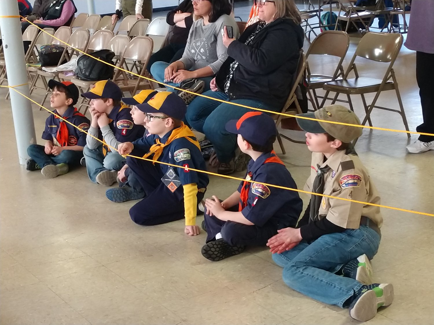 Scouts listening to the rules and getting more excited by the minute!  Let's do this!