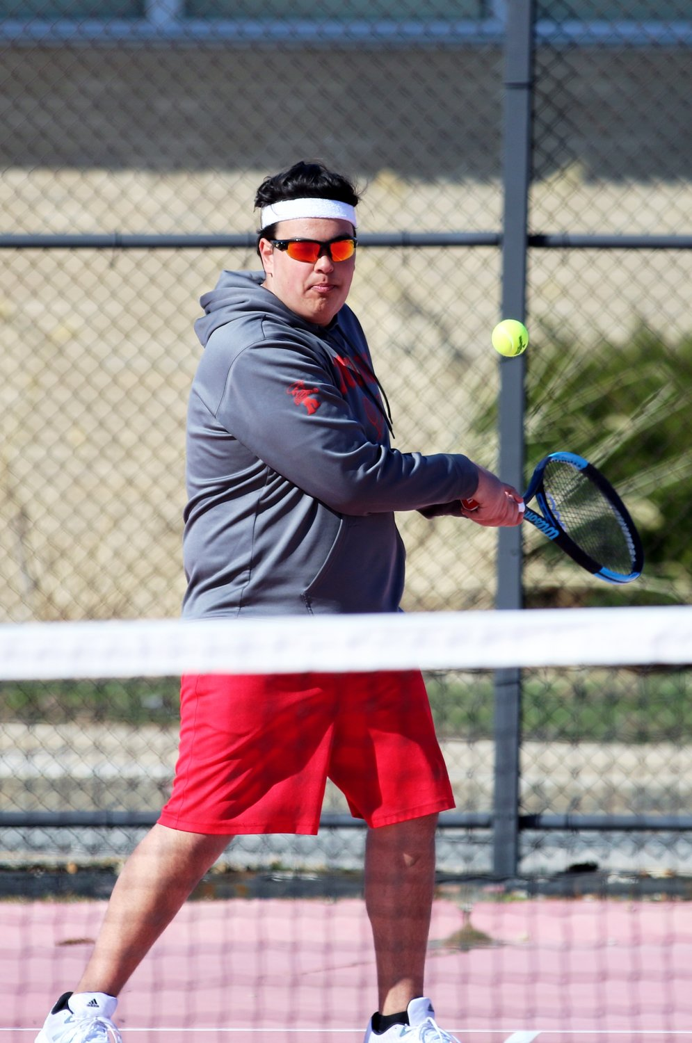 Jackson Ponte in recent tennis action for the Townies