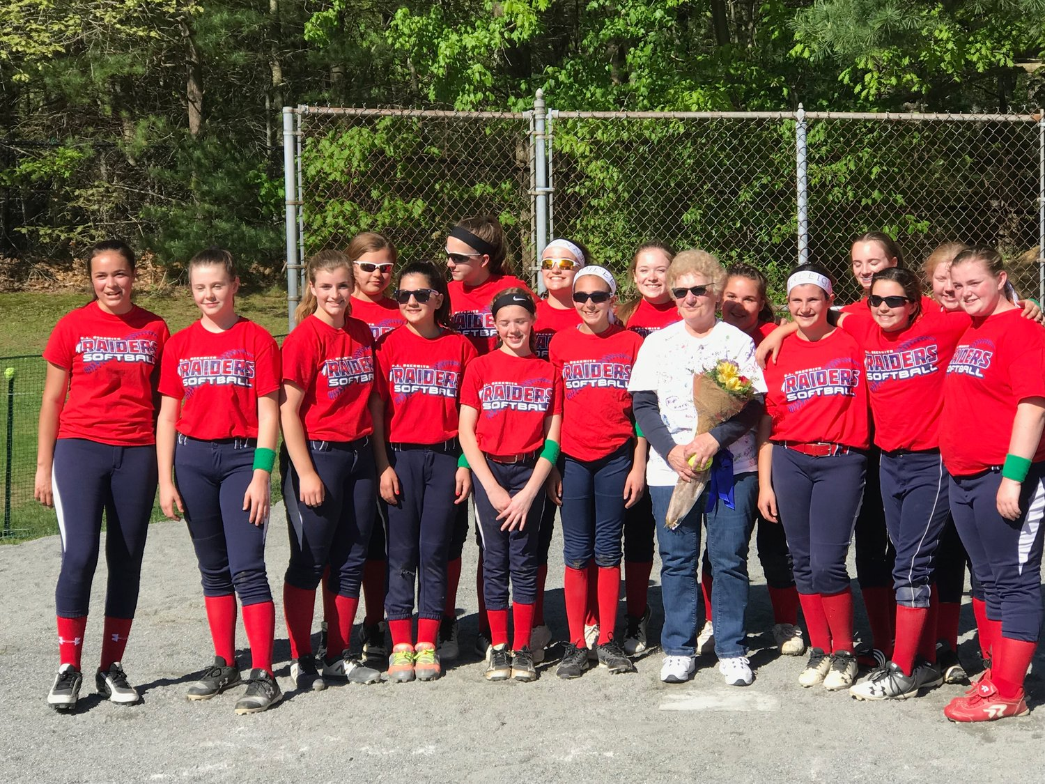 Lady Raiders with Liz Chellel the first Lady Raiders Softball Coach