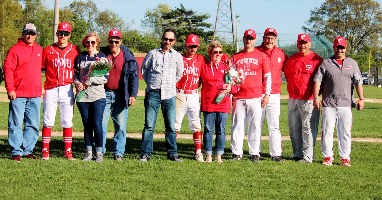 Some of the baseball senior day players and families