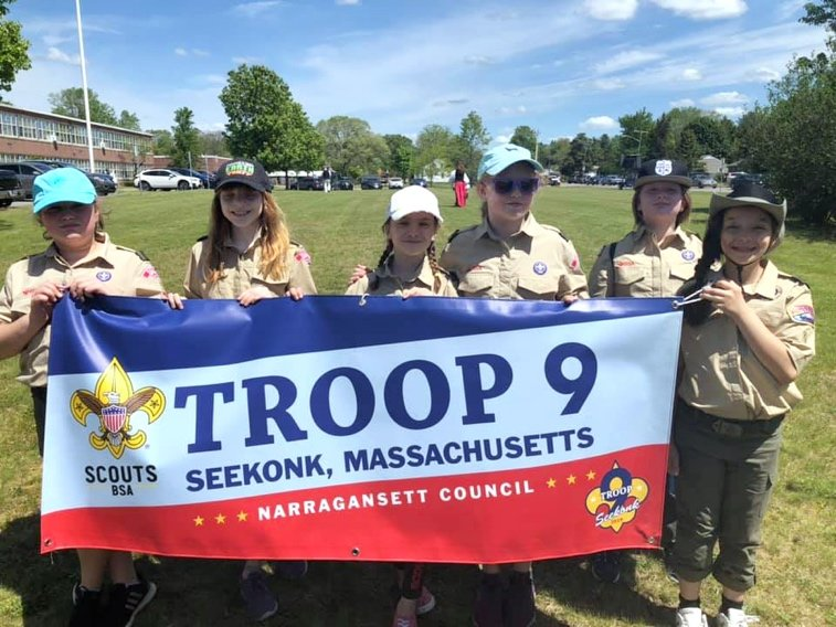 Troop 9 marched with their new banner in the Seekonk Memorial Day Parade.