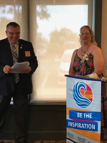 2019-2020 District Governor Stephen Albright and Rotary Club President Renate Alexander.