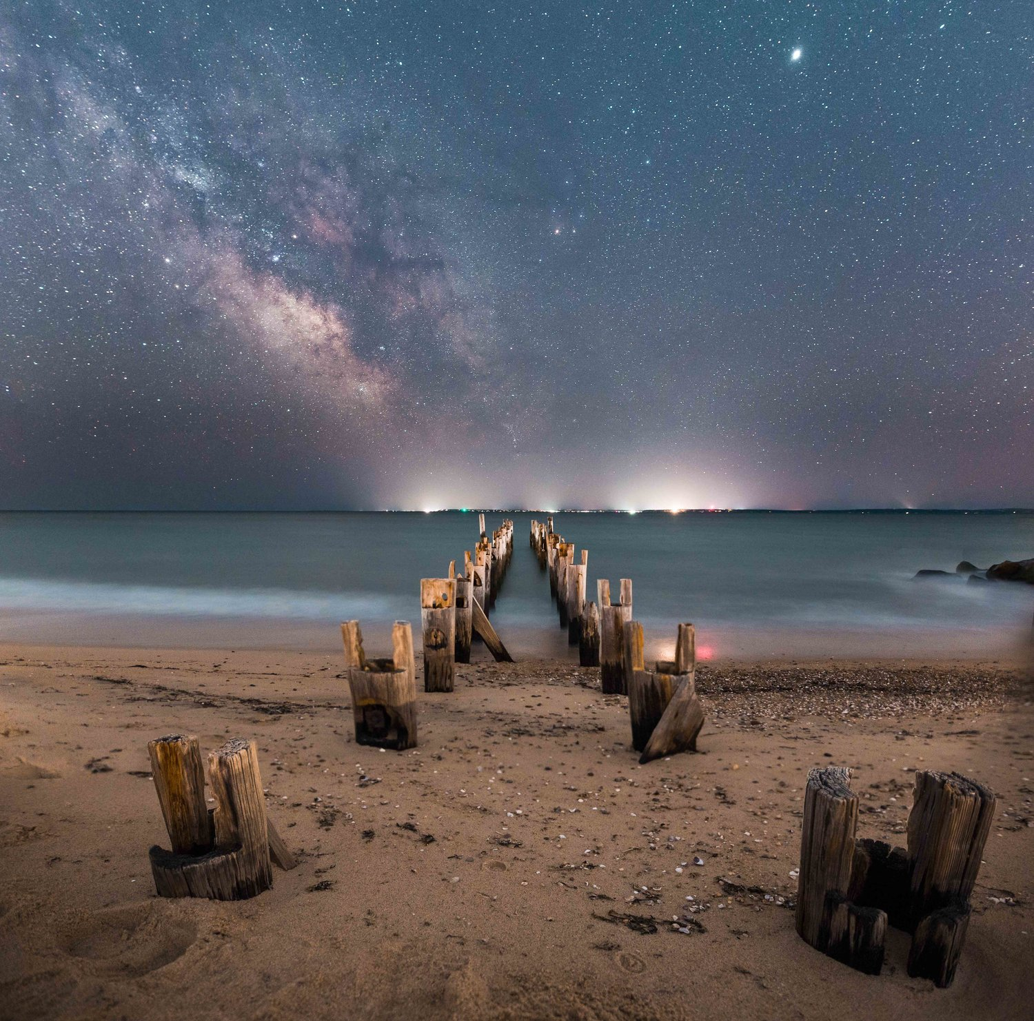 Last year's Grand Prize winning photo, pier pilings in Falmouth  illuminated by the Milky Way