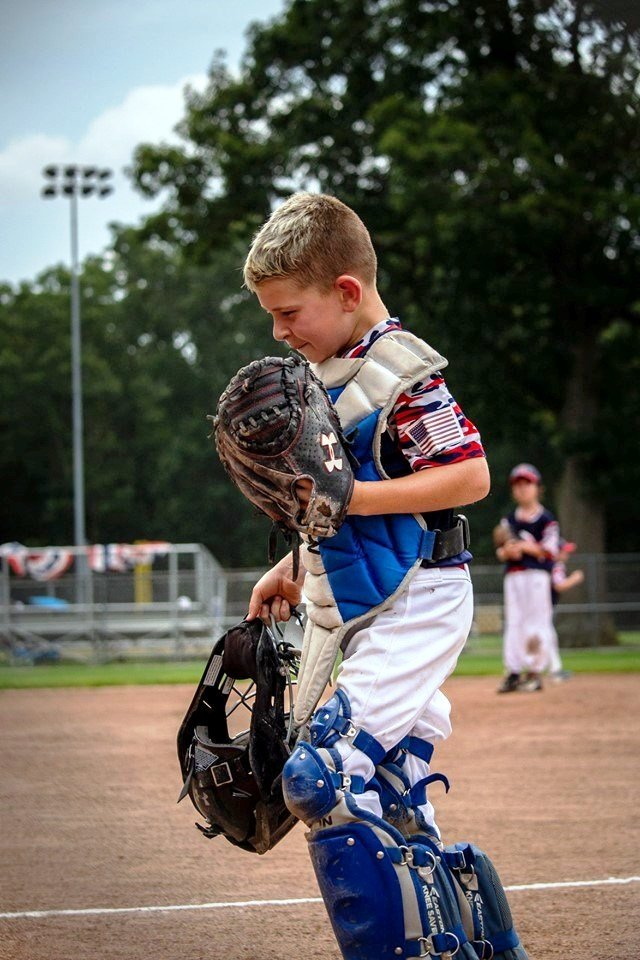 Catcher Bryce Levesque of Rumford LL. Photo by Nina Levesque.