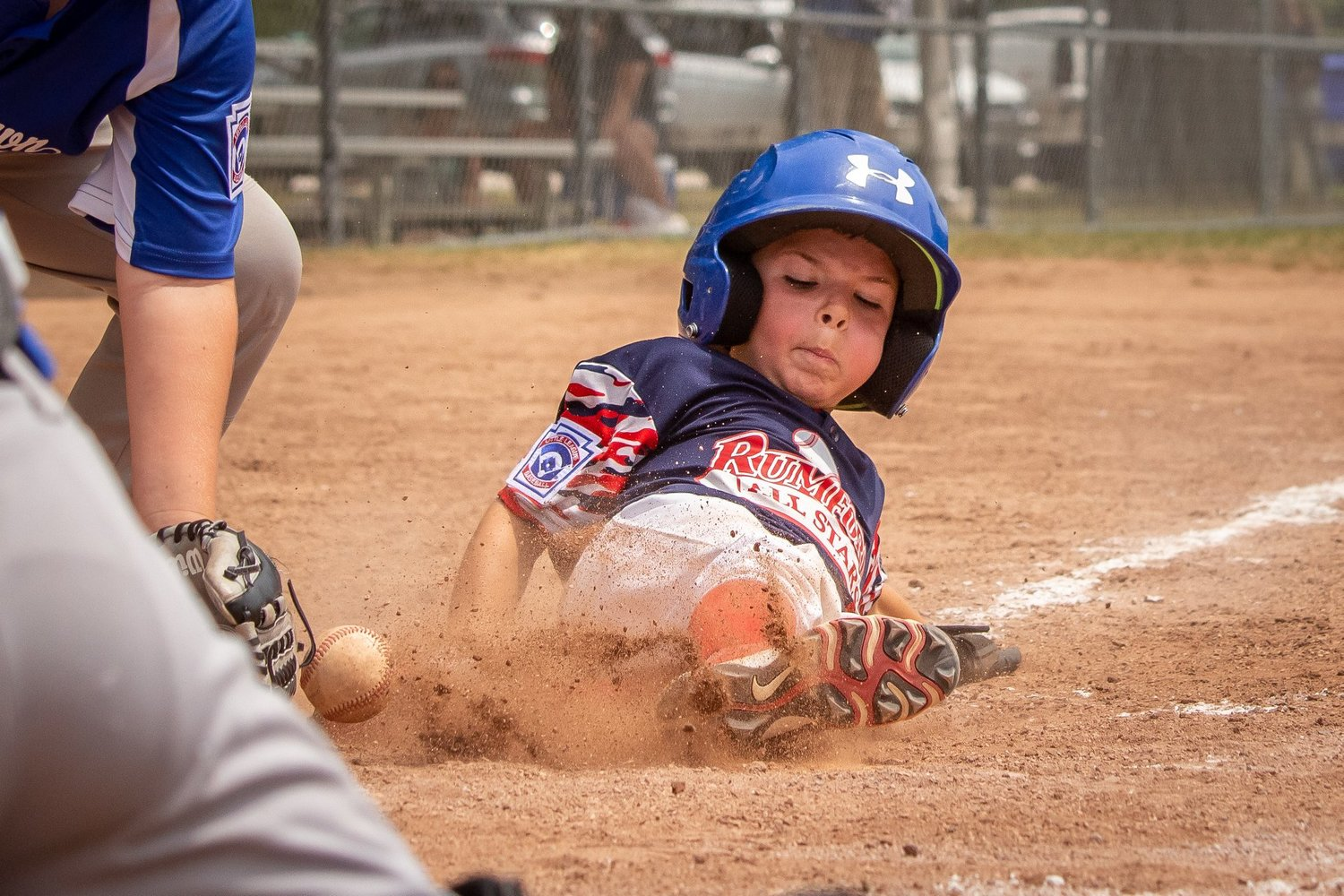 KJ Levesque of Rumford Little League scores a run. Photo by Nina Levesque.