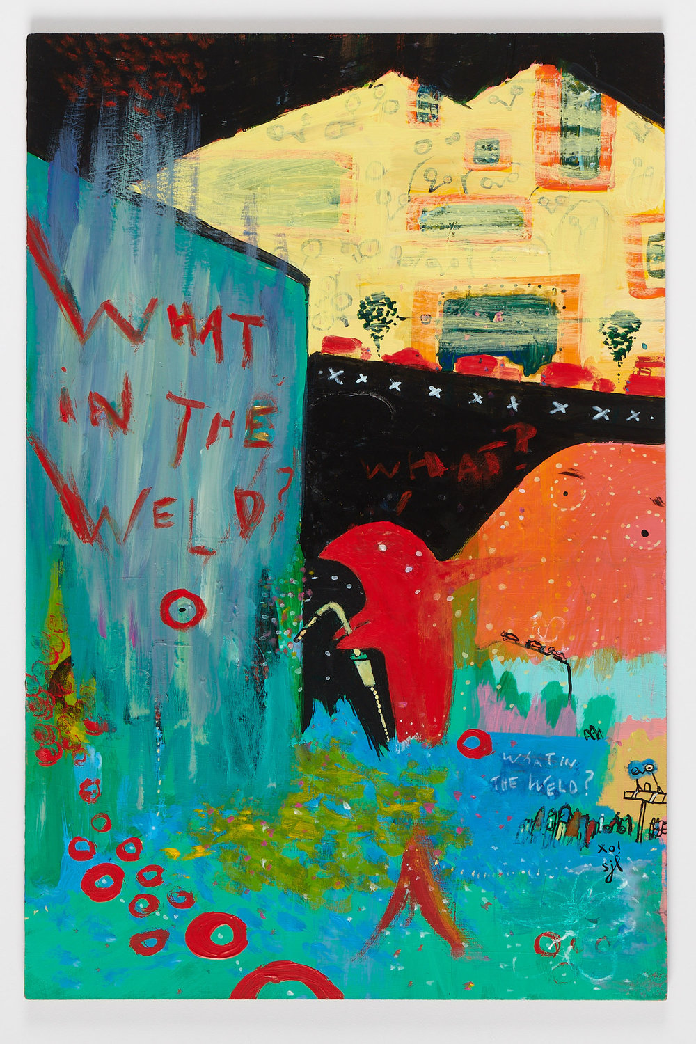 """What in the Weld"" is an acrylic painting on panel by Sarah Jane Lapp.