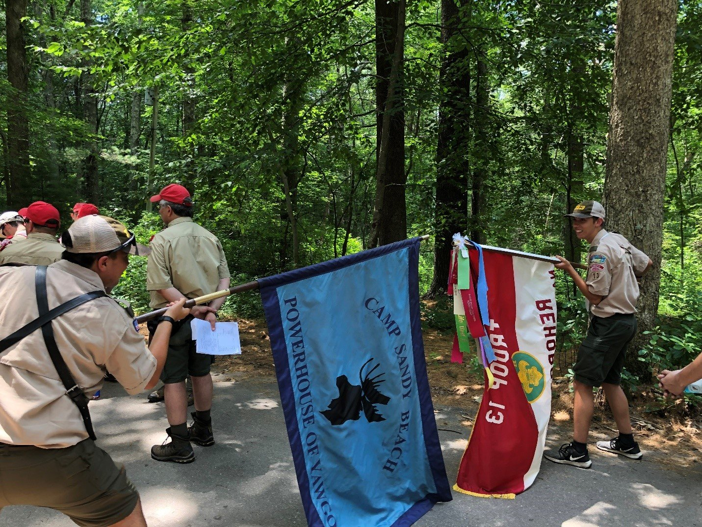Troop 13 waiting for Camp Yawgoog's dress parade. (From L-to-R): Sam D., Matt B.