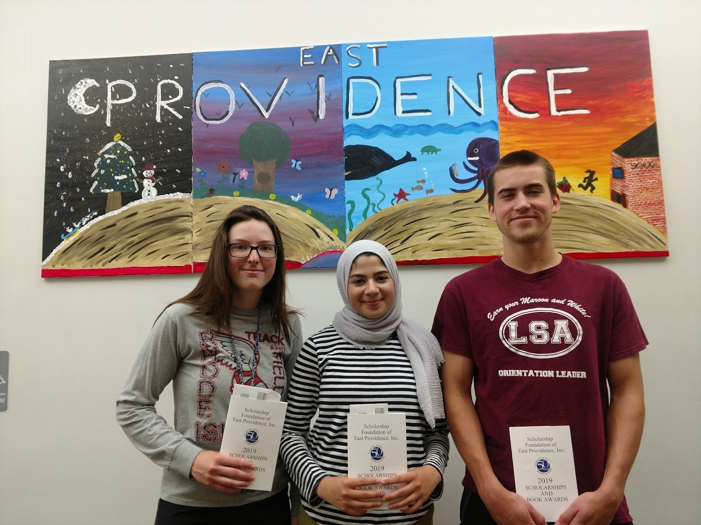 Recipients of the 50thyear awards from Scholarship Foundation of East Providence include Joss Duff, Zainab Almaarrawi and Kierstin Heck.