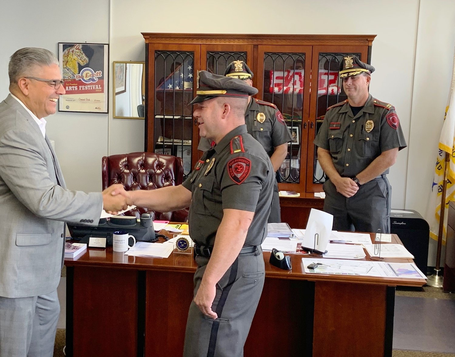Lt. Brian Mulvey being sworn in by Mayor Bob DaSilva last month. City of East Providence photo