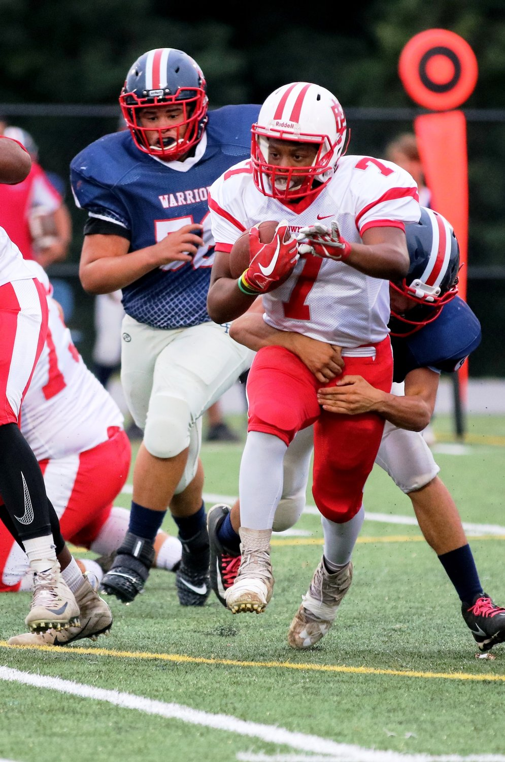 Townies Elijiah Owens moving the ball for a big gain