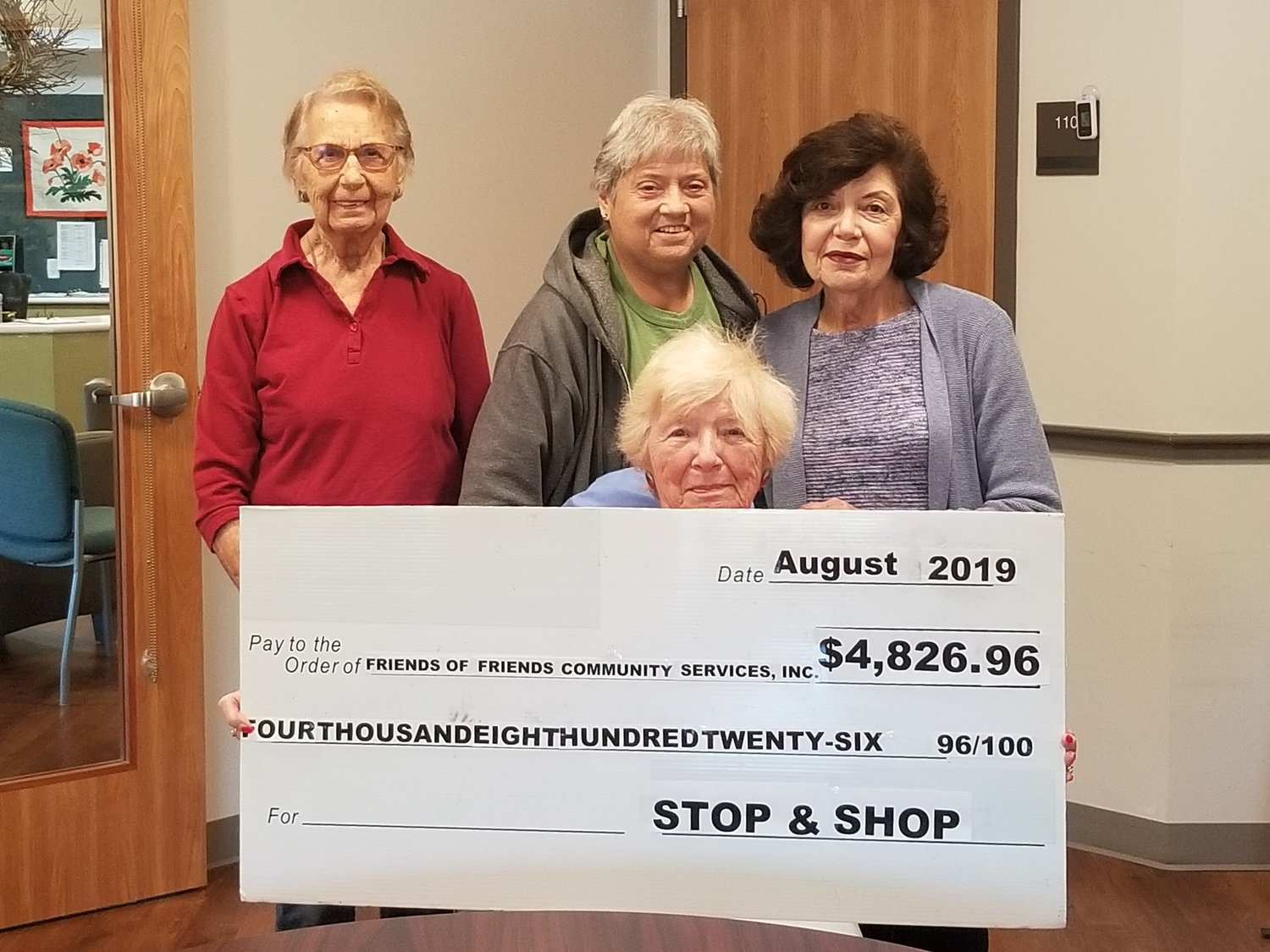 Center: Edith Krekorian President, left to right Bev Hart committee member, Beverly Della Grotta Treasurer & Judy Santoro Secretary, accepting a very generous donation to Friends of Friends Community Services, Inc. in the amount of $4,826.96 from the Stop & Shop Associates & customers on Highland Avenue in Seekonk.  This donation will tremendously help the Seekonk Community through the Human Services Department.