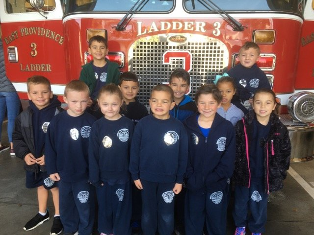 First Graders in front of the fire truck!