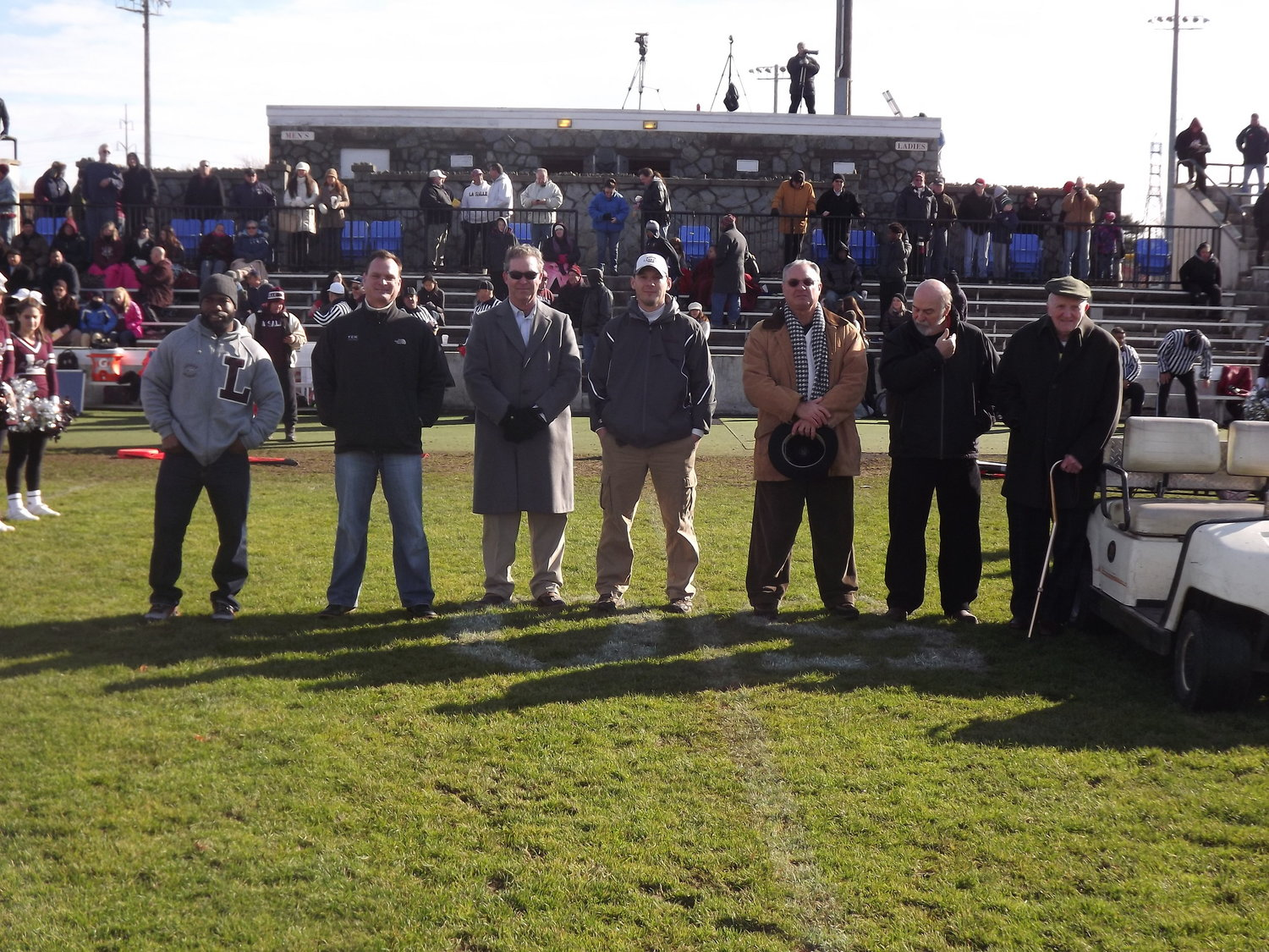Representing LaSalle legends, 2000s to 1940s, L to R, Lorenzo Perry, Rick Vota, Matt Hannigan, Bill Defley, Al Mello, Dave Sousa and Jim Deffley in 2014