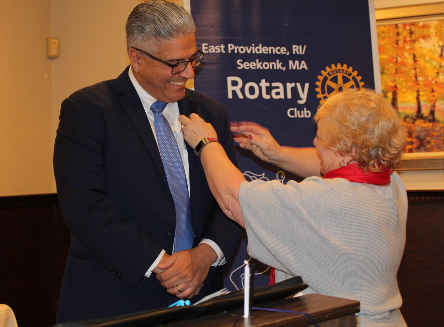 Roberto DaSilva was inducted into the East Providence/Seekonk Rotary Club by Renate Alexander and his sponsor Valerie Perry
